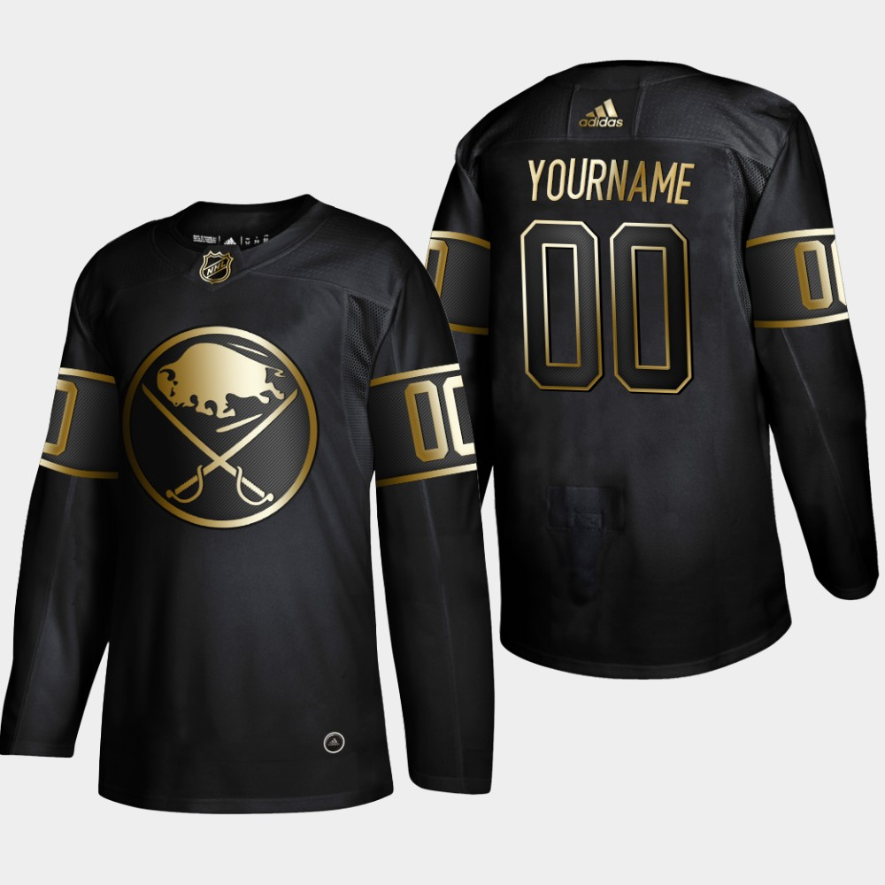 Sabres Customized Black Gold Adidas Jersey