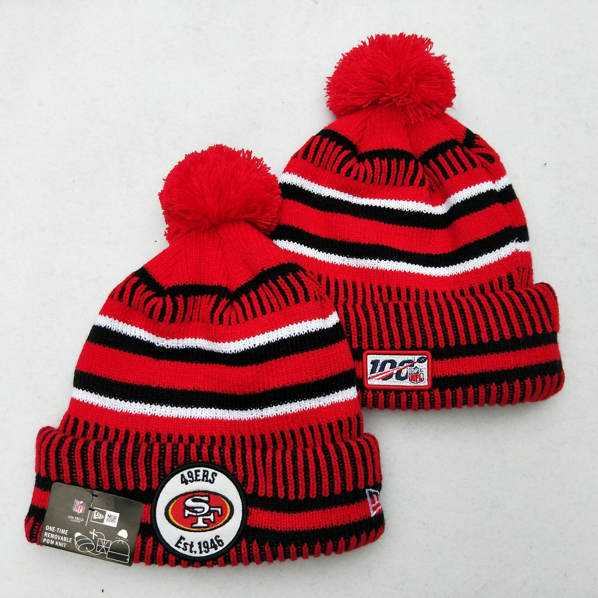 49ers Team Logo Red 100th Season Pom Knit Hat YD