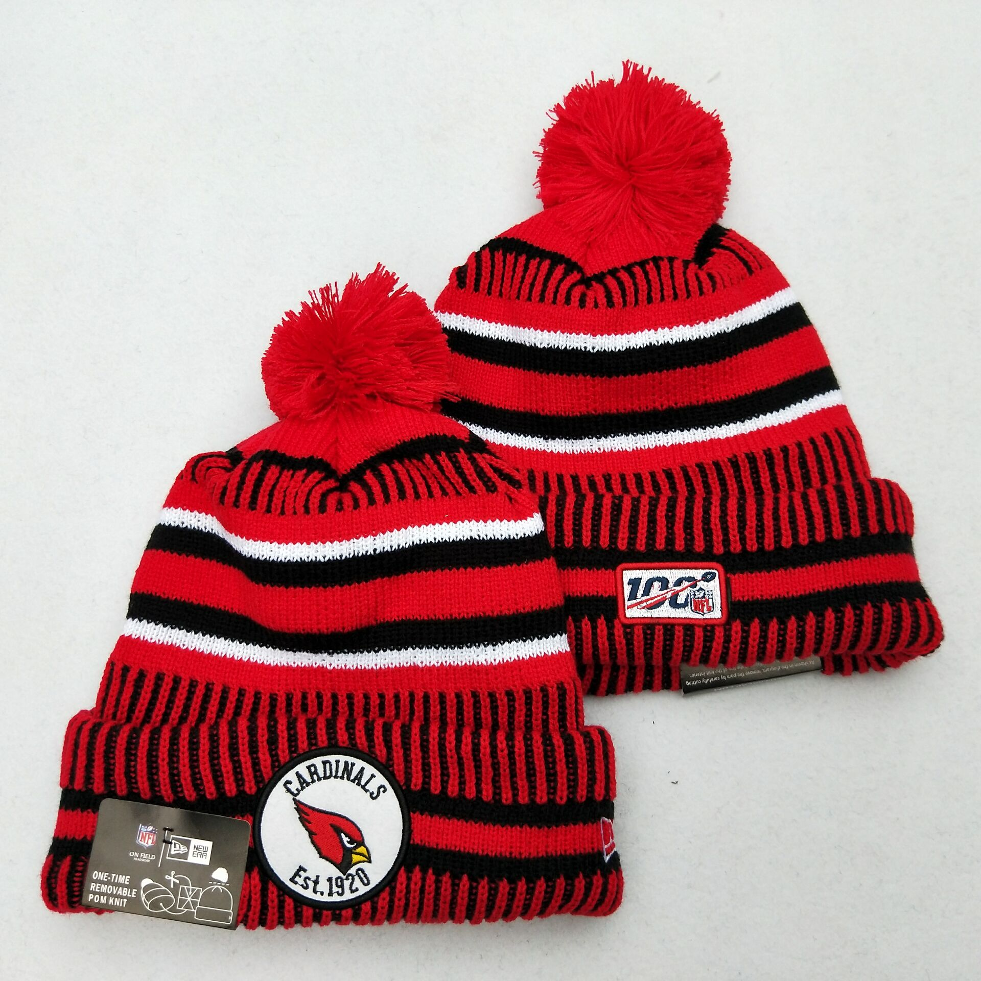 Arizona Cardinals Team Logo Red 100th Season Pom Knit Hat YD