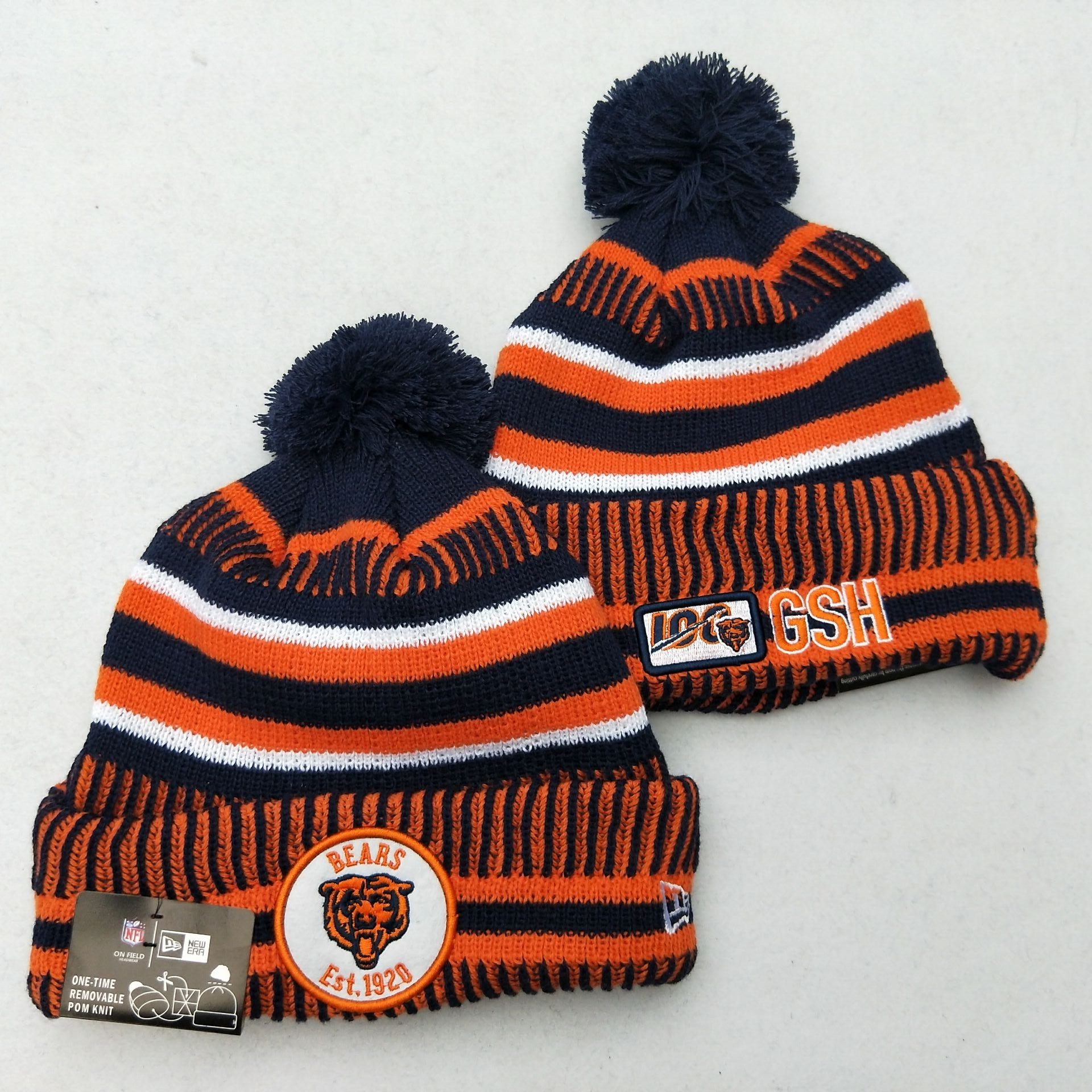 Bears Fresh Logo Orange 100th Season Pom Knit Hat YD