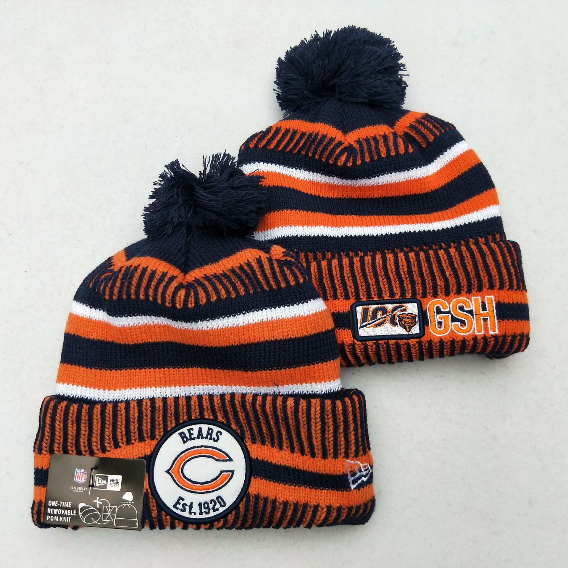 Bears Team Logo Orange 100th Season Pom Knit Hat YD