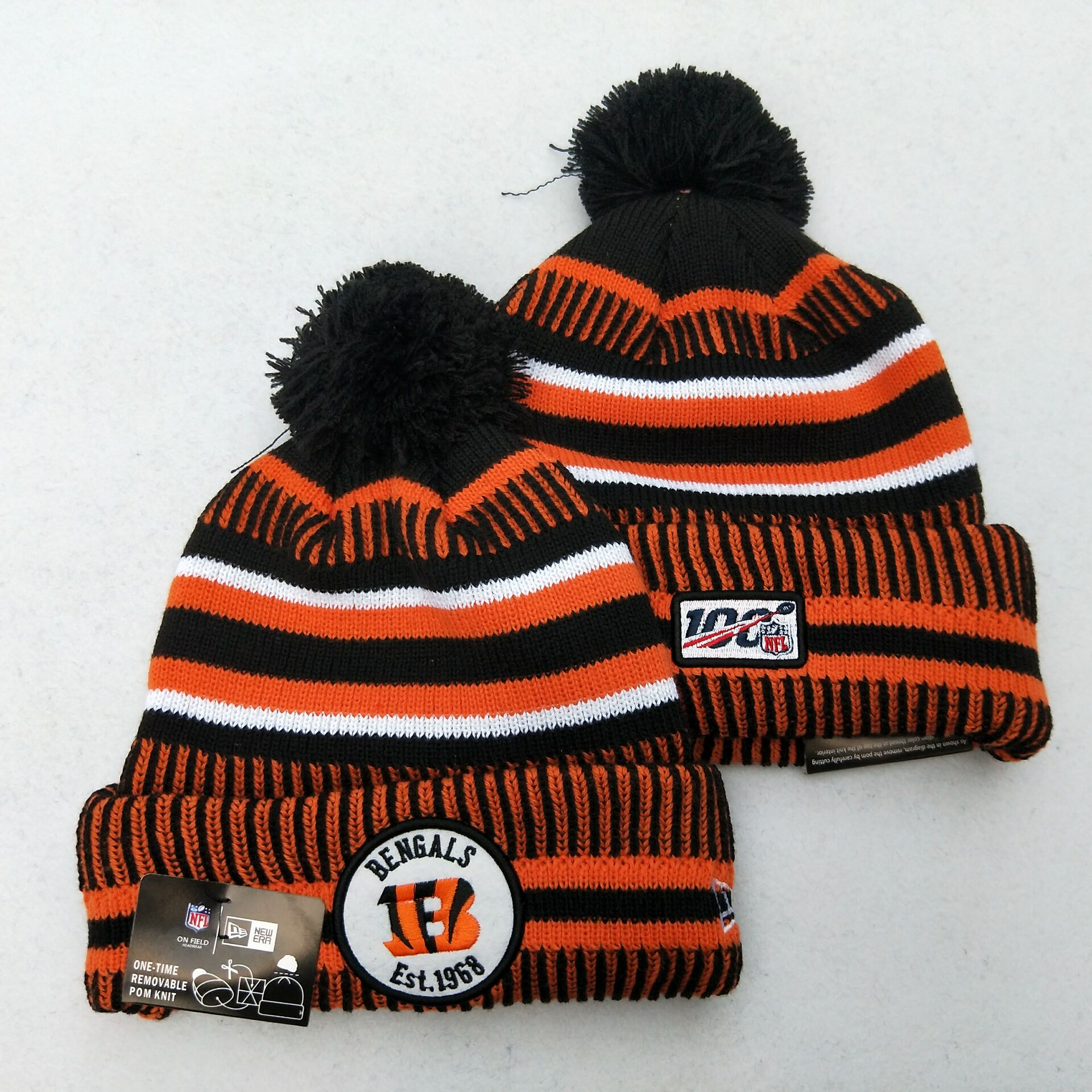 Bengals Team Logo Orange 100th Season Pom Knit Hat YD