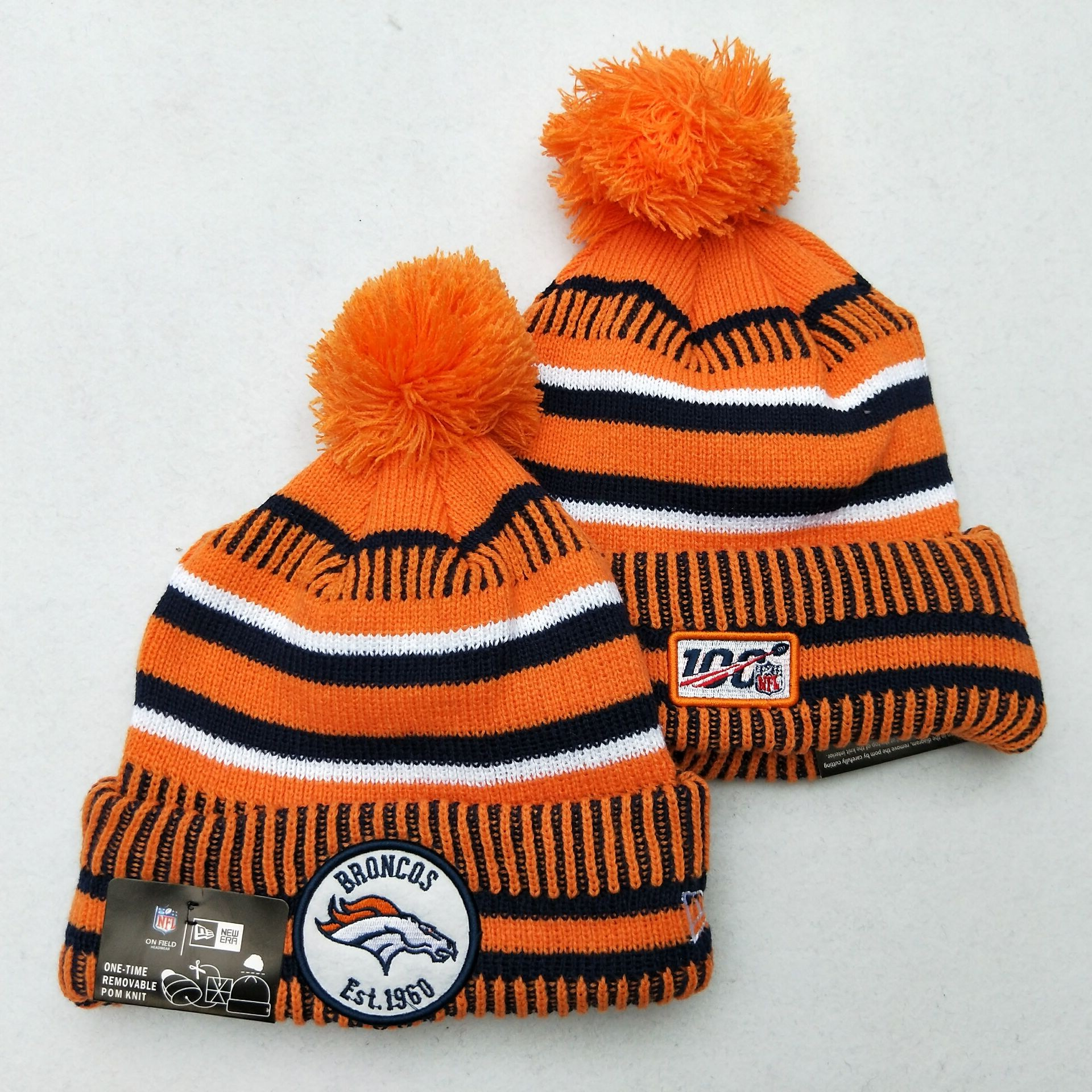 Broncos Team Logo Orange 100th Season Pom Knit Hat YD