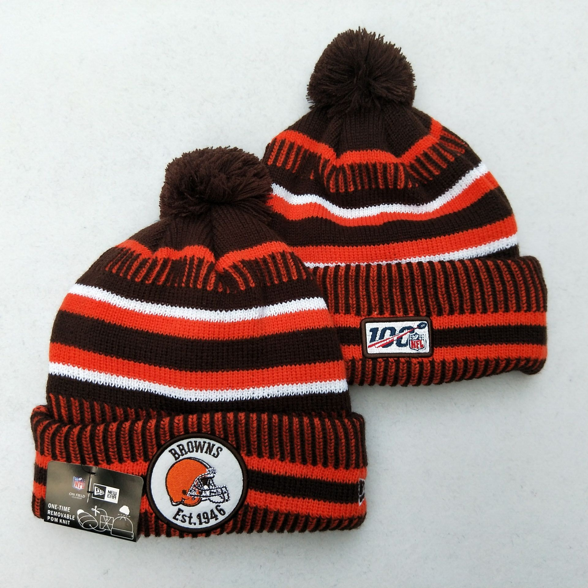Browns Team Logo Brown 100th Season Pom Knit Hat YD