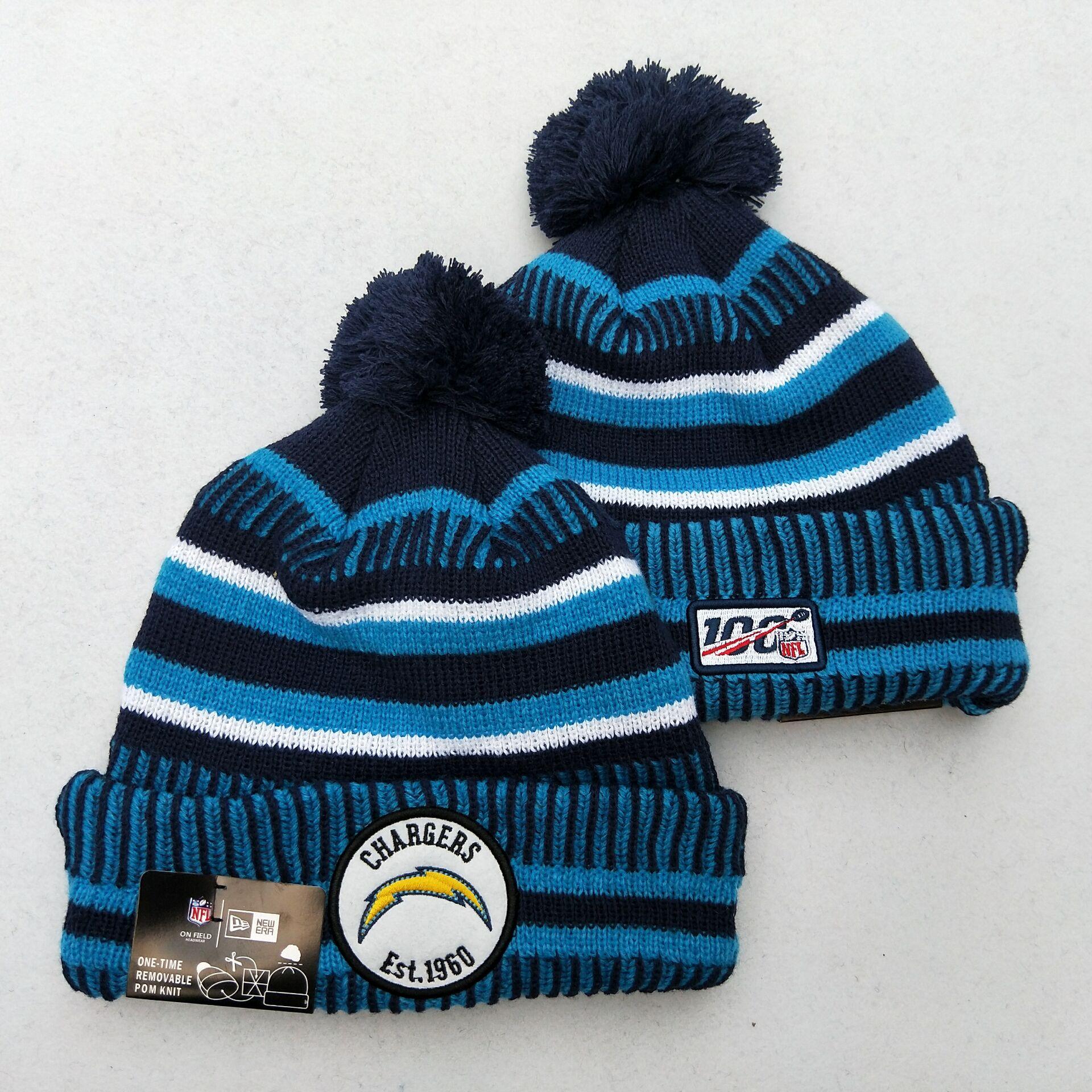 Chargers Team Logo Blue 100th Season Pom Knit Hat YD