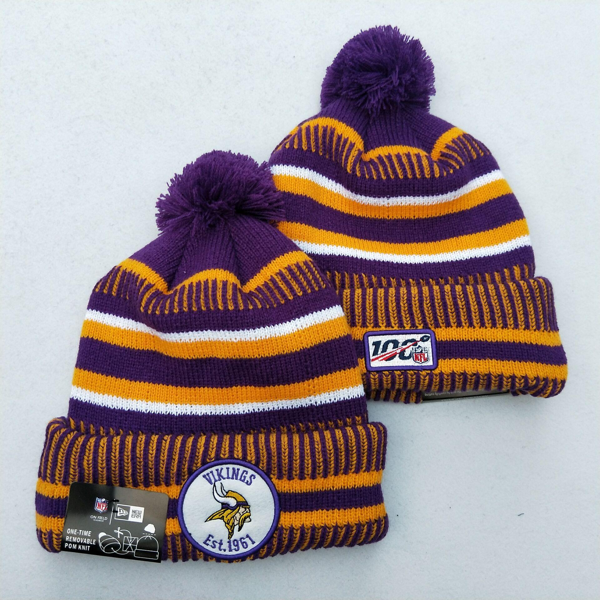 Vikings Team Logo Yellow Purple 100th Season Pom Knit Hat YD