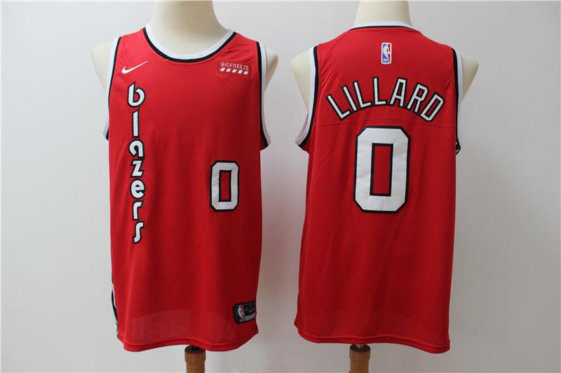 Blazers 0 Damian Lillard Red Nike Swingman Jersey