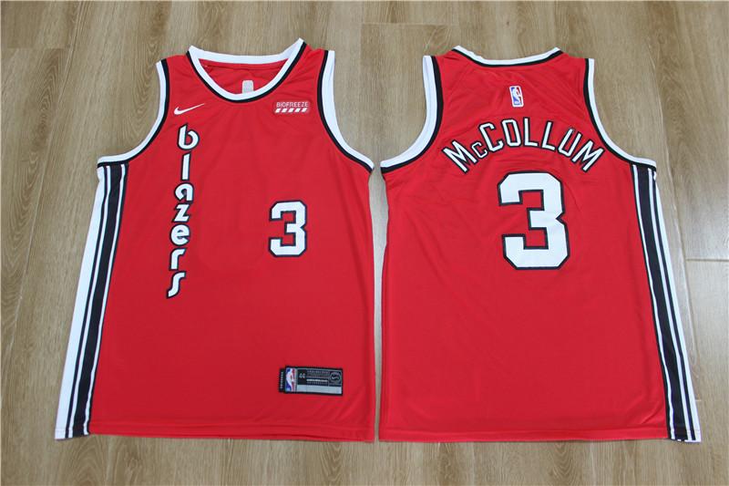 Blazers 3 C.J. McCollum Red Nike Swingman Jersey