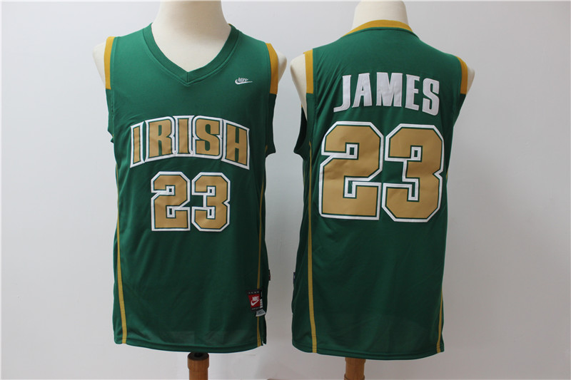 Irish High School 23 LeBron James Green Swingman Jersey