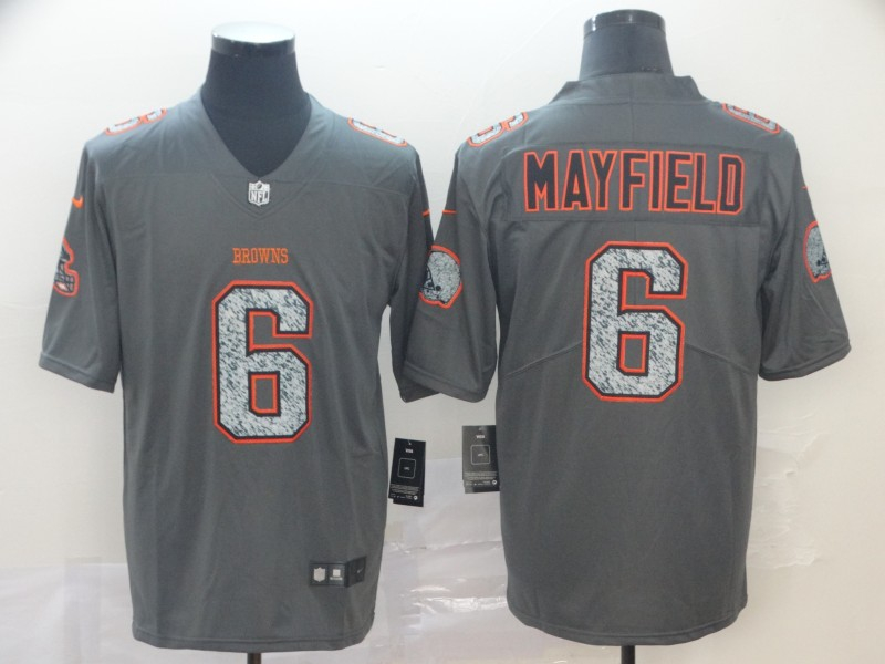 Nike Browns 6 Baker Mayfield Gray Camo Vapor Untouchable Limited Jersey