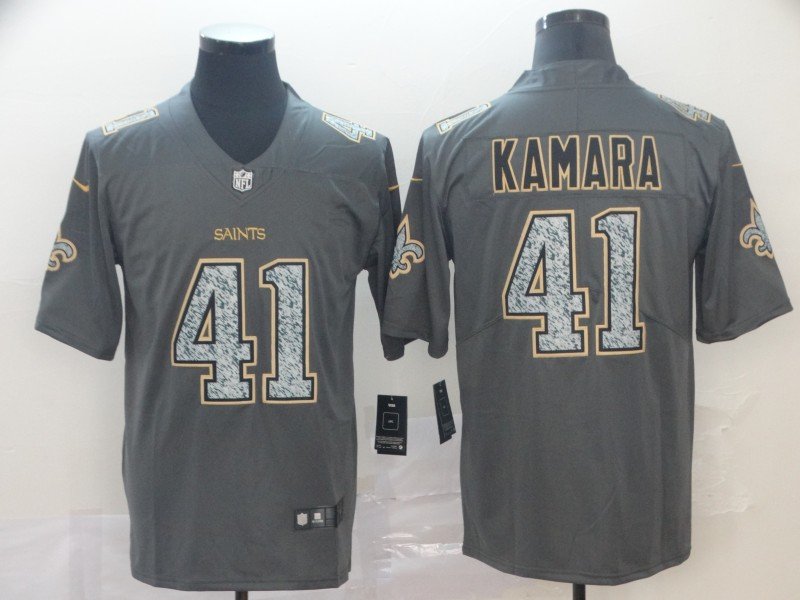 Nike Saints 41 Alvin Kamara Gray Camo Vapor Untouchable Limited Jersey