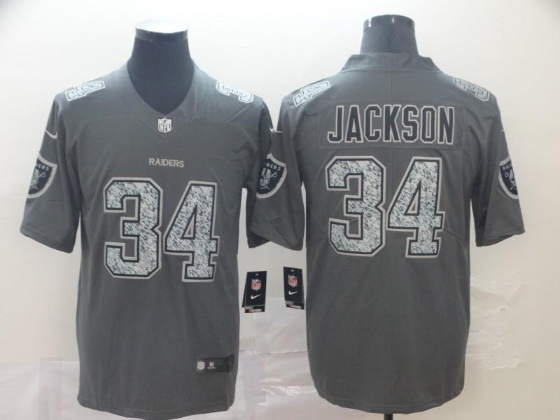 Nike Raiders 34 Bo Jackson Gray Camo Vapor Untouchable Limited Jersey