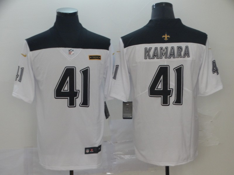 Nike Saints 41 Alvin Kamara White City Edition Vapor Untouchable Limited Jersey