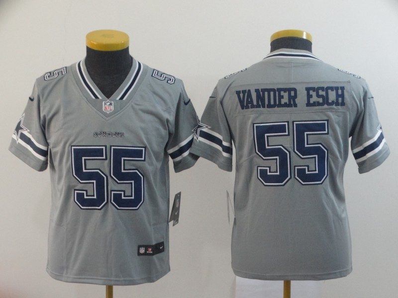 Nike Cowboys 55 Leighton Vander Esch Gray Youth Inverted Legend Limited Jersey
