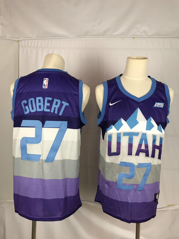 Jazz 27 Rudy Gobert Purple City Edition Nike Swingman Jersey