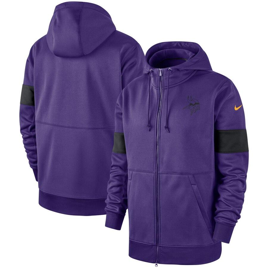 Minnesota Vikings Nike Sideline Performance Full Zip Hoodie Purple