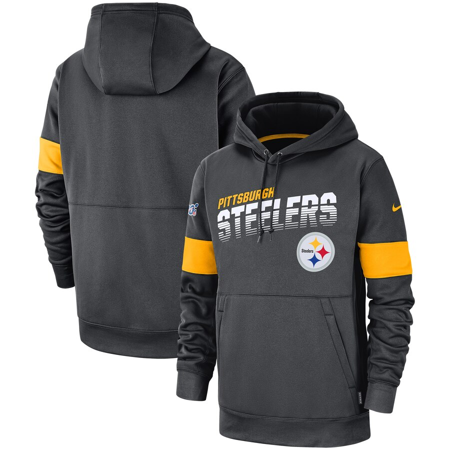 Pittsburgh Steelers Nike Sideline Team Logo Performance Pullover Hoodie Anthracite