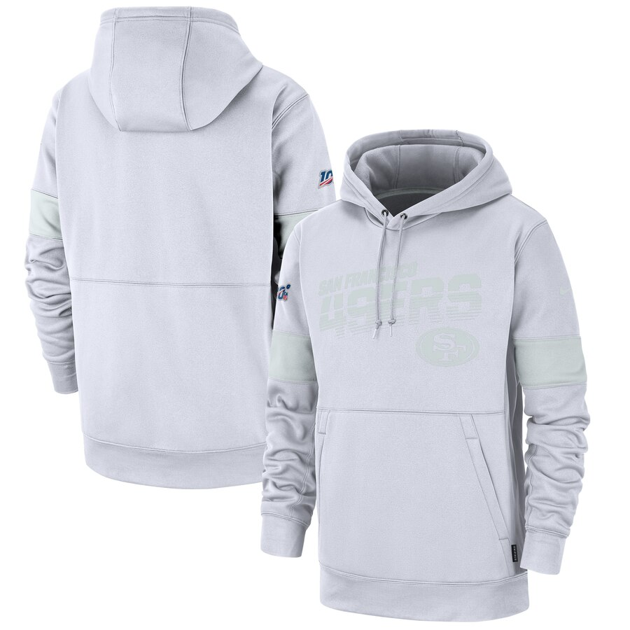 San Francisco 49ers Nike NFL 100 2019 Sideline Platinum Therma Pullover Hoodie White