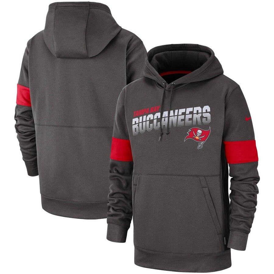 Tampa Bay Buccaneers Nike Sideline Team Logo Performance Pullover Hoodie Pewter