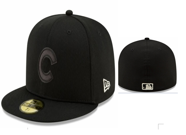Cubs Team Logo Black Fitted Hat LX