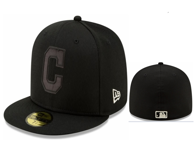 Indians Team Logo Black Fitted Hat LX