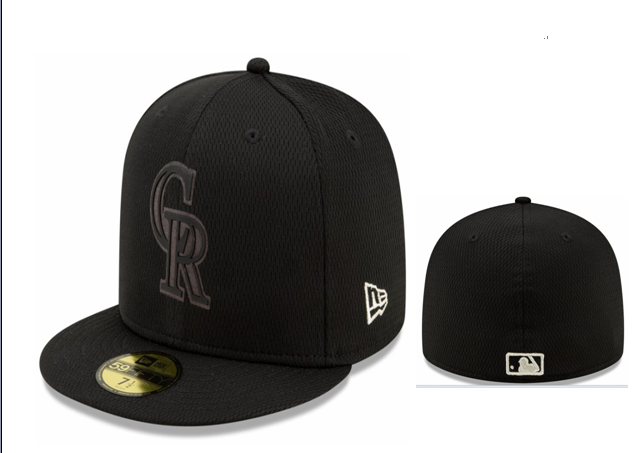 Rockies Team Logo Black Fitted Hat LX