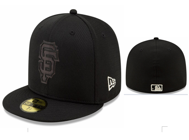 San Francisco Giants Team Logo Black Fitted Hat LX
