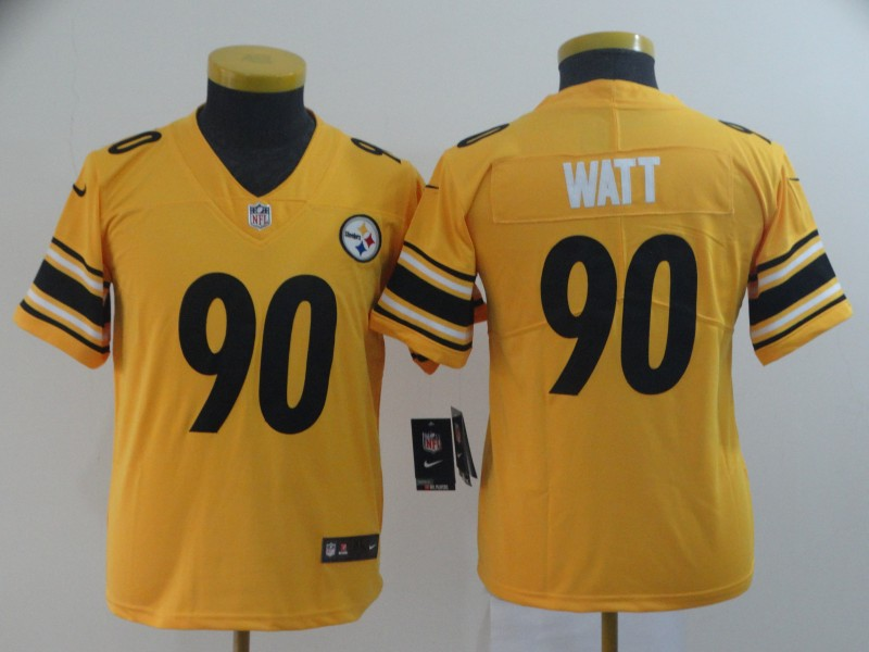 Nike Steelers 90 T.J. Watt Gold Youth Inverted Legend Limited Jersey