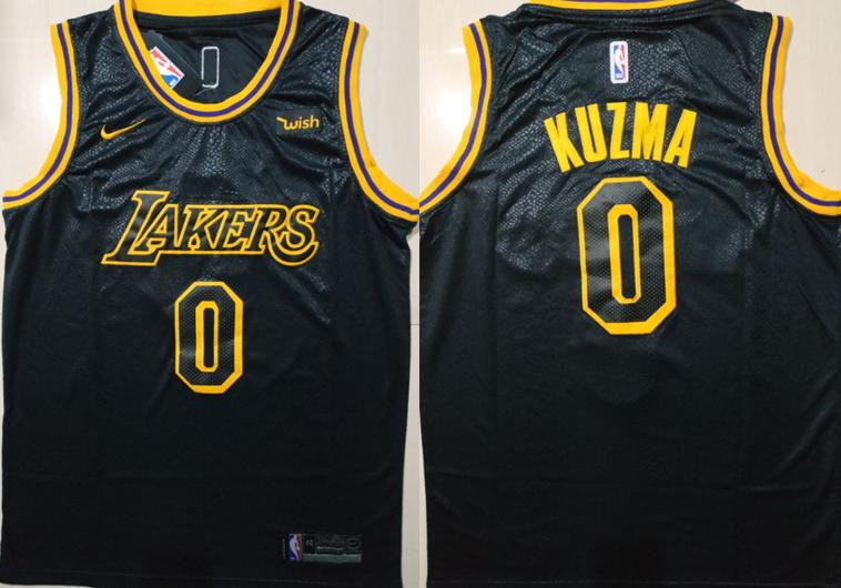 Lakers 0 Kyle Kuzma Black Nike City Edition Swingman Jersey