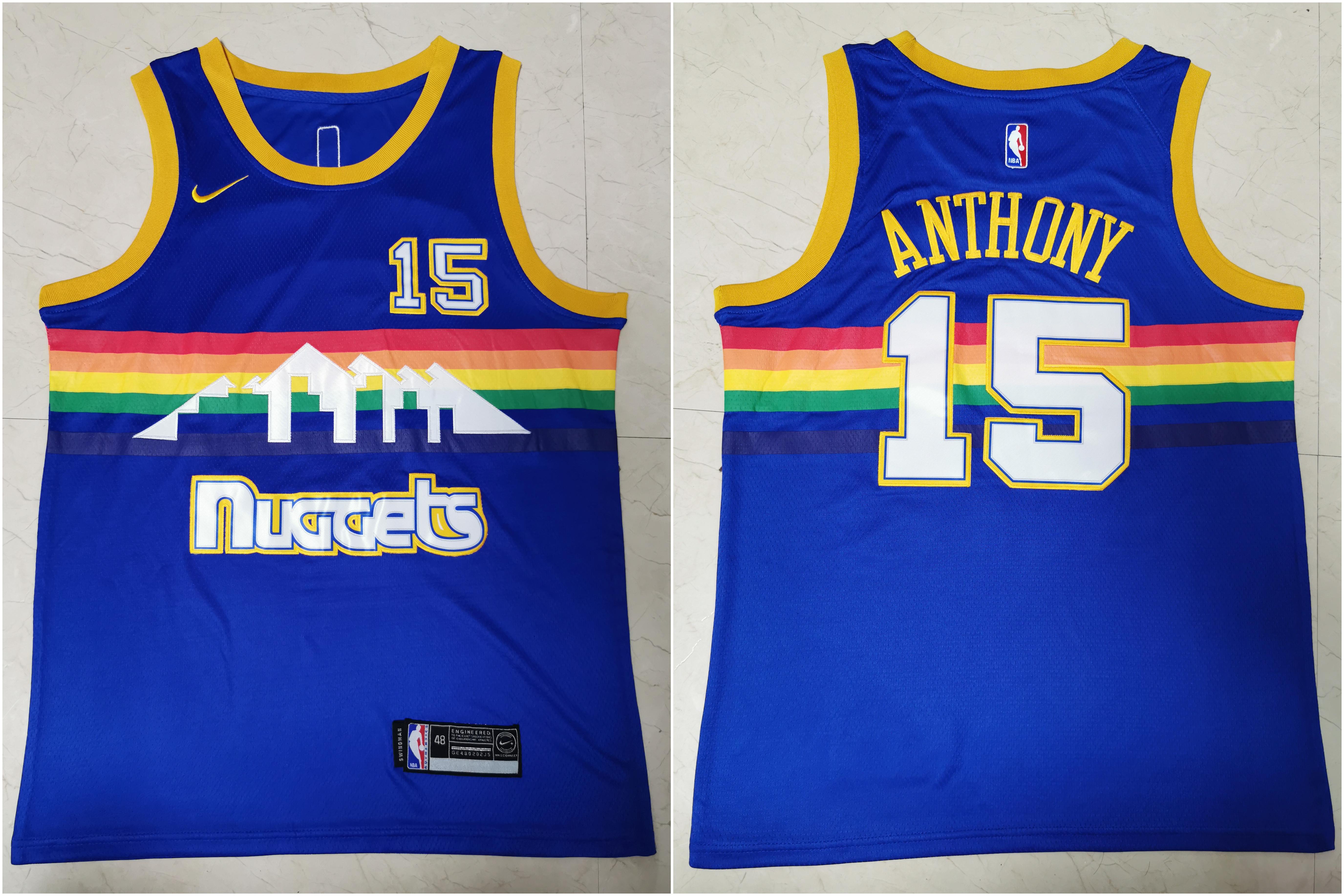 Nuggets 15 Carmelo Anthony Blue Swingman Jersey