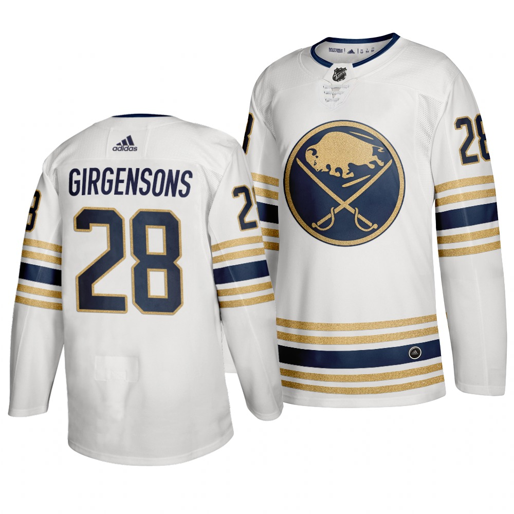 Sabres 28 Zemgus Girgensons White 50th anniversary Adidas Jersey