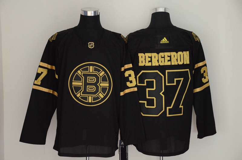 Bruins 37 Patrice Bergeron Black Gold Adidas Jersey