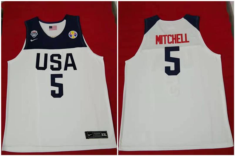 Team USA 5 Mitchell White 2016 Olympics Basketball Swingman Jersey