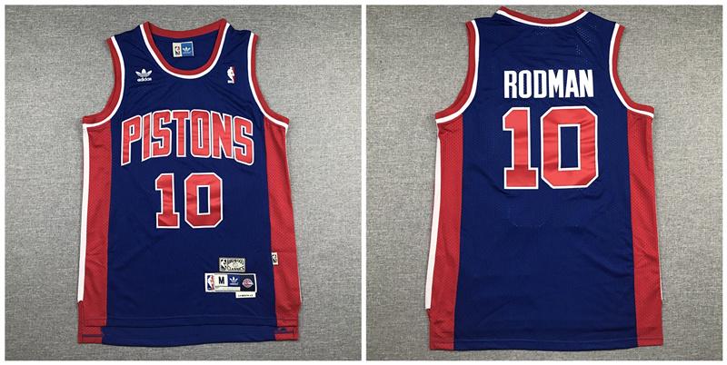 Pistons 10 Dennis Rodman Navy Hardwood Classics Jersey