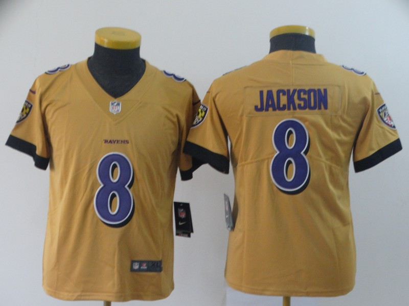 Nike Ravens 8 Lamar Jackson Gold Youth Inverted Legend Limited Jersey