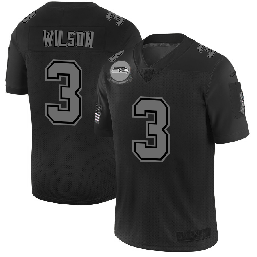 Nike Seahawks 3 Russell Wilson 2019 Black Salute To Service Fashion Limited Jersey