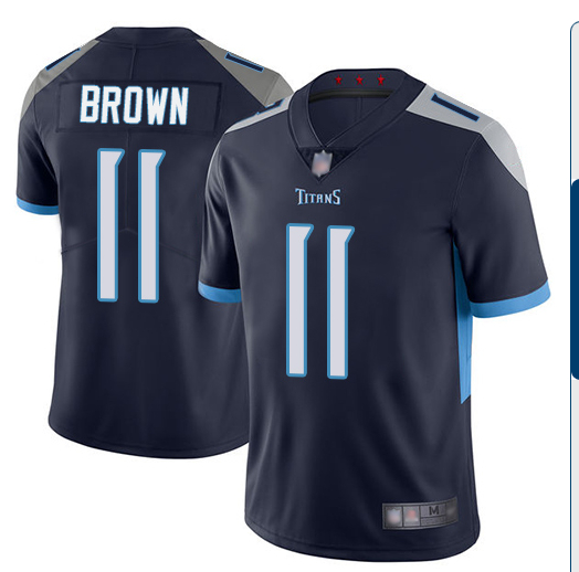 Nike Titans 11 A.J. Brown Navy New Vapor Untouchable Limited Jersey