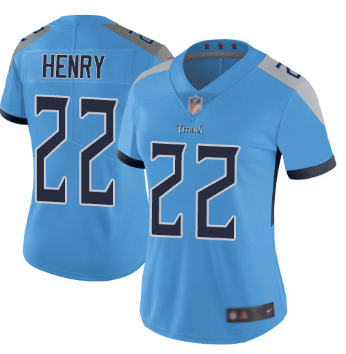 Nike Titans 22 Derrick Henry Blue Women New Vapor Untouchable Player Limited Jersey