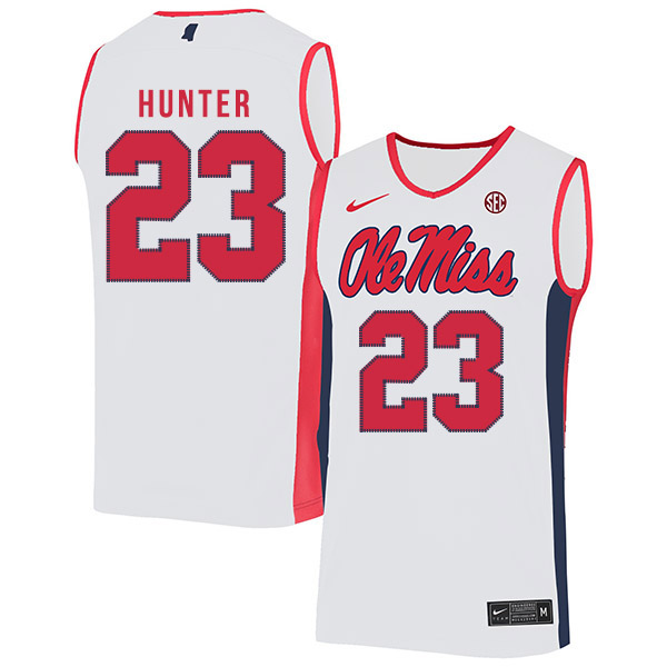 Ole Miss Rebels 23 Sammy Hunter White Nike Basketball College Jersey