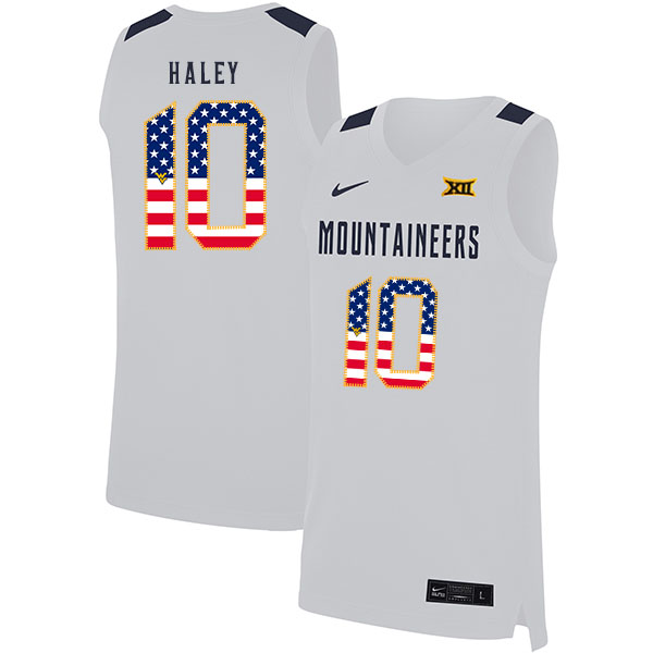 West Virginia Mountaineers 10 Jermaine Haley White USA Flag Nike Basketball College Jersey