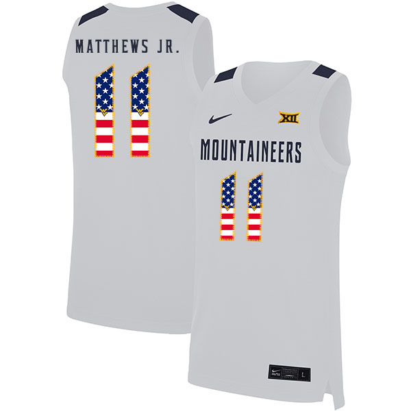 West Virginia Mountaineers 11 Emmitt Matthews Jr. White USA Flag Nike Basketball College Jersey.jpeg