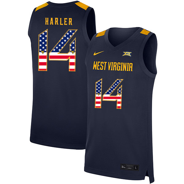 West Virginia Mountaineers 14 Chase Harler Navy USA Flag Nike Basketball College Jersey