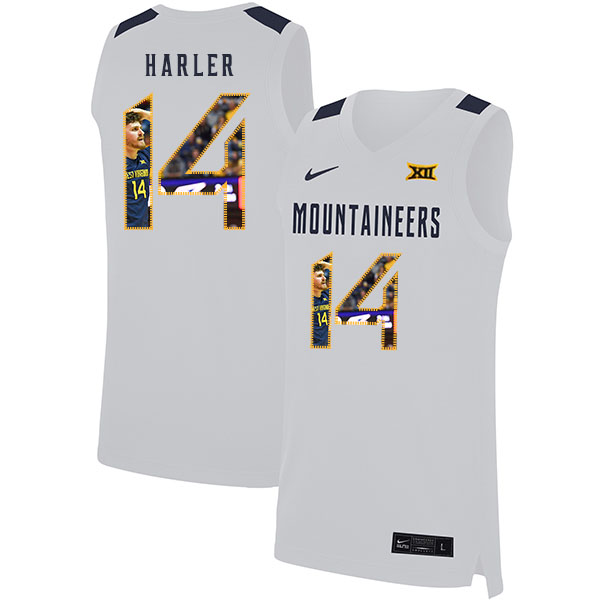 West Virginia Mountaineers 14 Chase Harler White Fashion Nike Basketball College Jersey