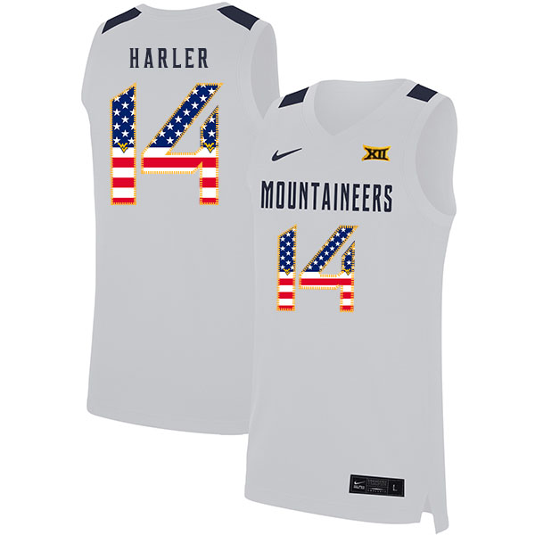 West Virginia Mountaineers 14 Chase Harler White USA Flag Nike Basketball College Jersey
