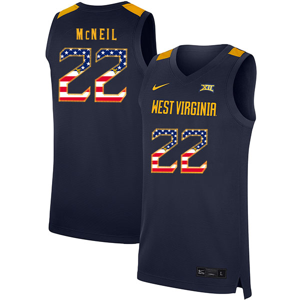 West Virginia Mountaineers 22 Sean McNeil Navy USA Flag Nike Basketball College Jersey