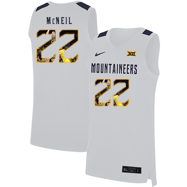 West Virginia Mountaineers 22 Sean McNeil White Fashion Nike Basketball College Jersey