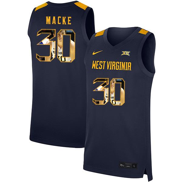 West Virginia Mountaineers 30 Spencer Macke Navy Fashion Nike Basketball College Jersey