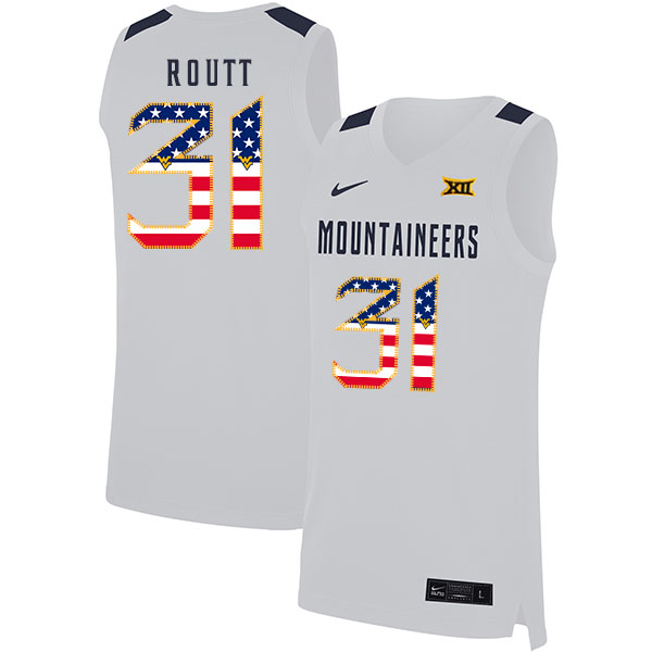 West Virginia Mountaineers 31 Logan Routt White USA Flag Nike Basketball College Jersey