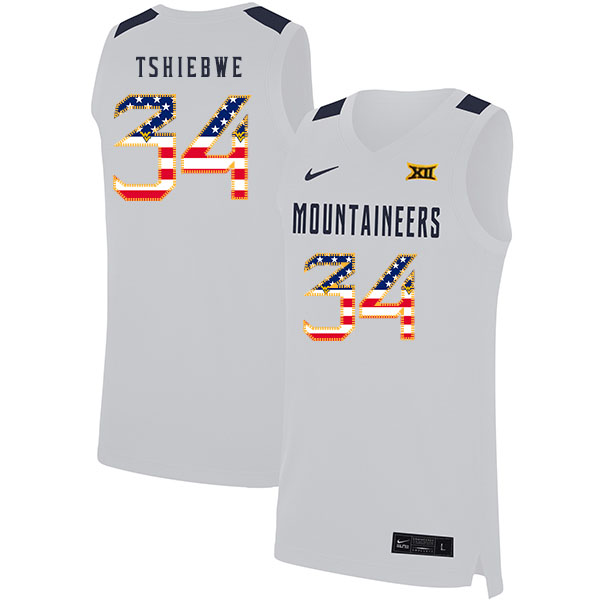 West Virginia Mountaineers 34 Oscar Tshiebwe White USA Flag Nike Basketball College Jersey