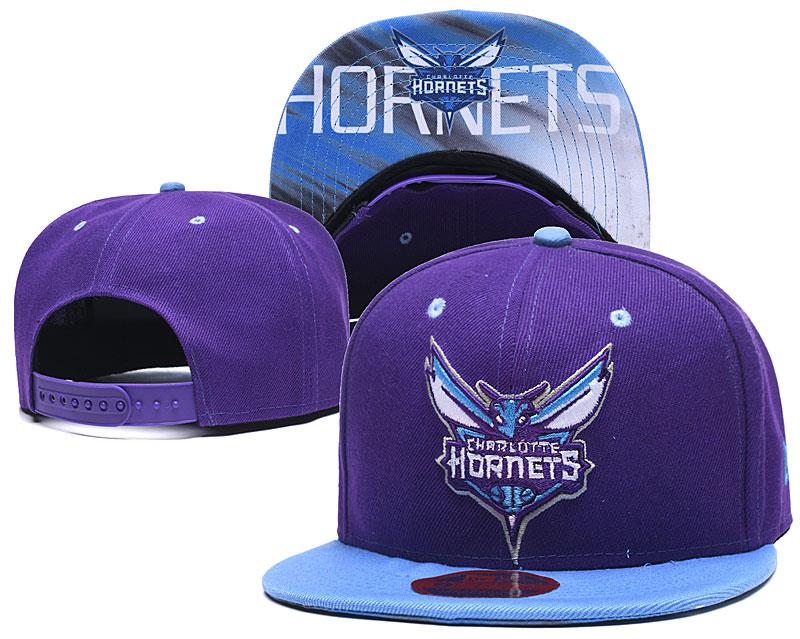 Hornets Team Logo Purple Adjustable Hat LH